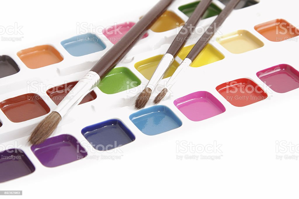 Paints and brushes royalty-free stock photo