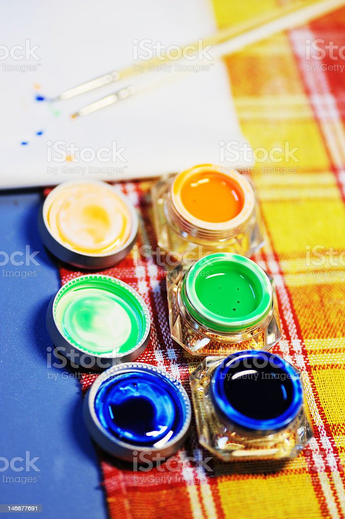 Paints in bottles royalty-free stock photo