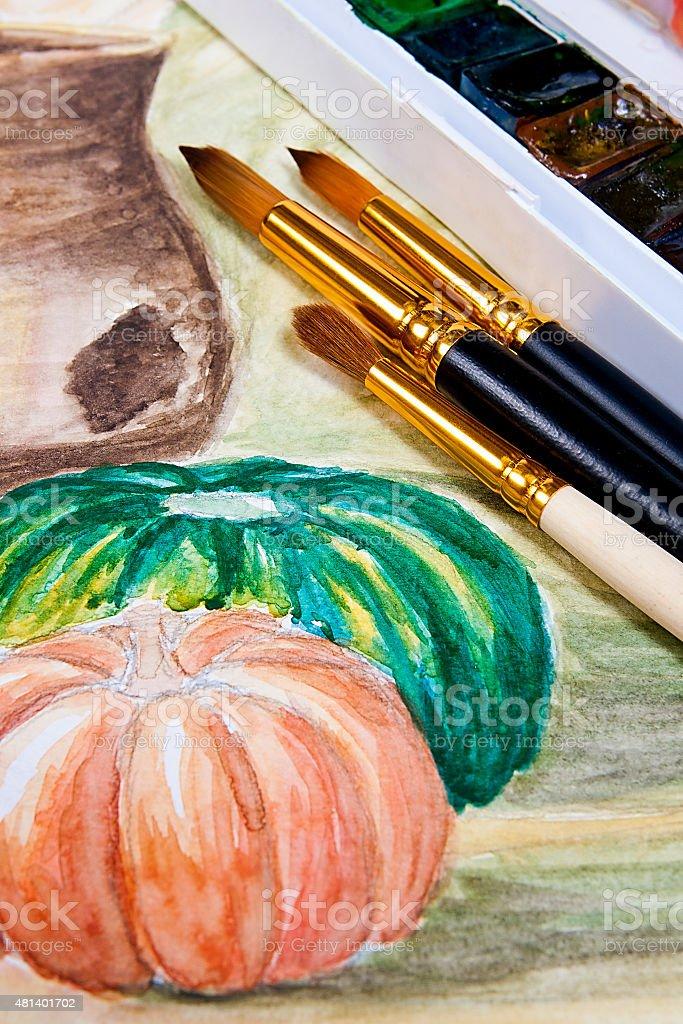 Pinturas y pinceles en El watercolors pintura. foto de stock libre de derechos