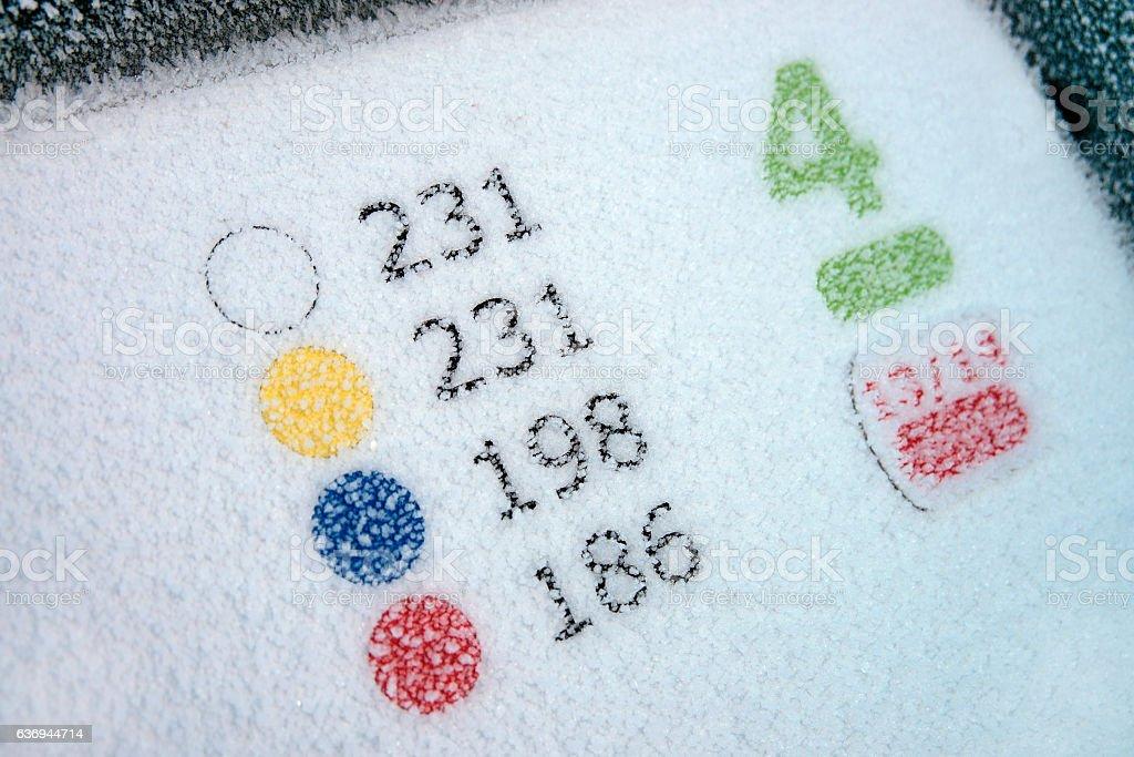 Paar 4 Tableau eines Golfplatzes im Winter stock photo