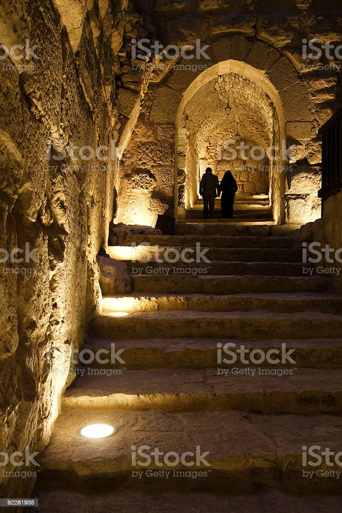 Pair in the Ajlun Castle royalty-free stock photo
