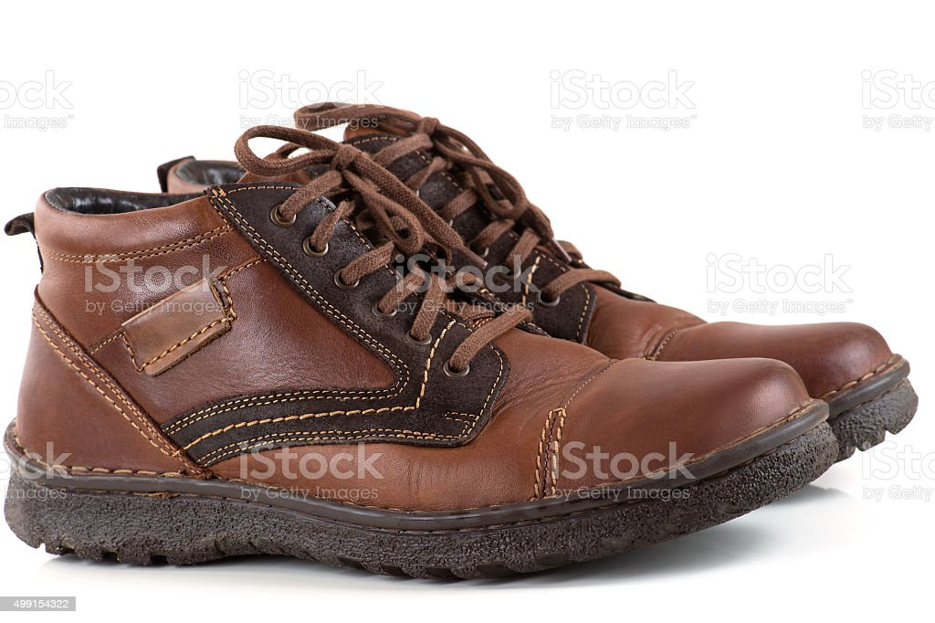 pair men's leather shoes stock photo