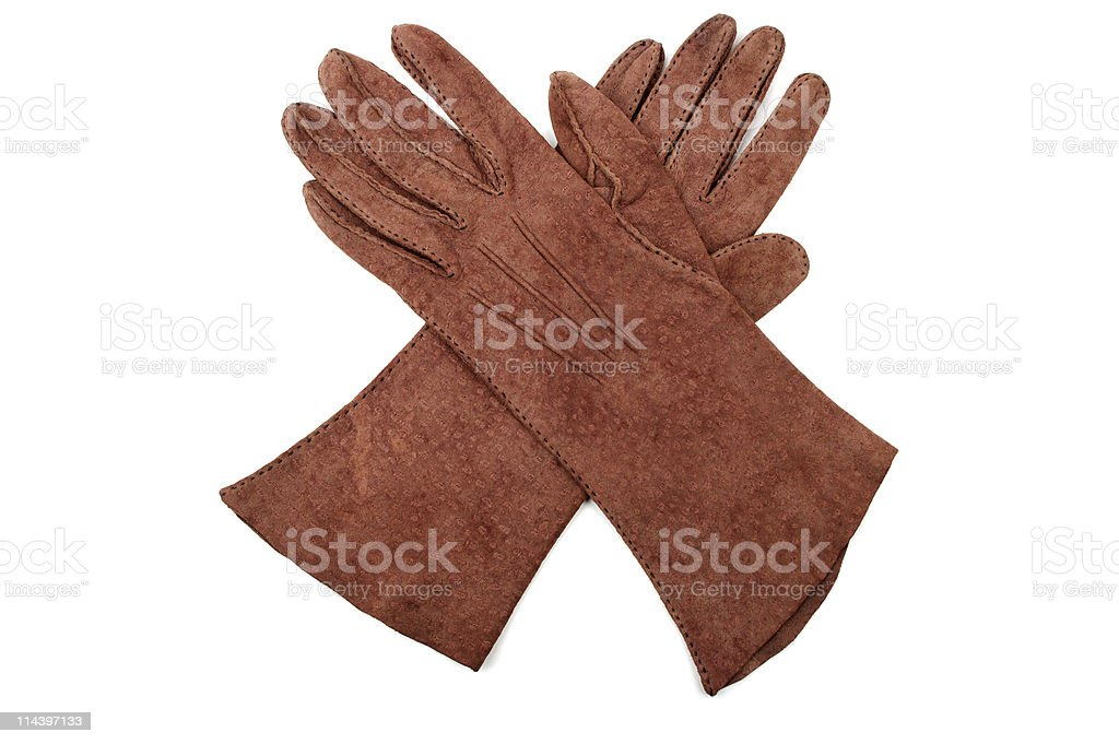 Pair Of 1950s Ladies Suede Gloves royalty-free stock photo