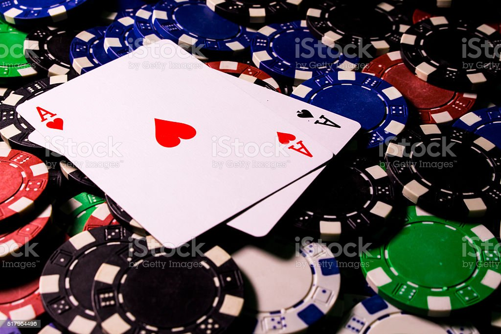 Pair of ace in poker game stock photo