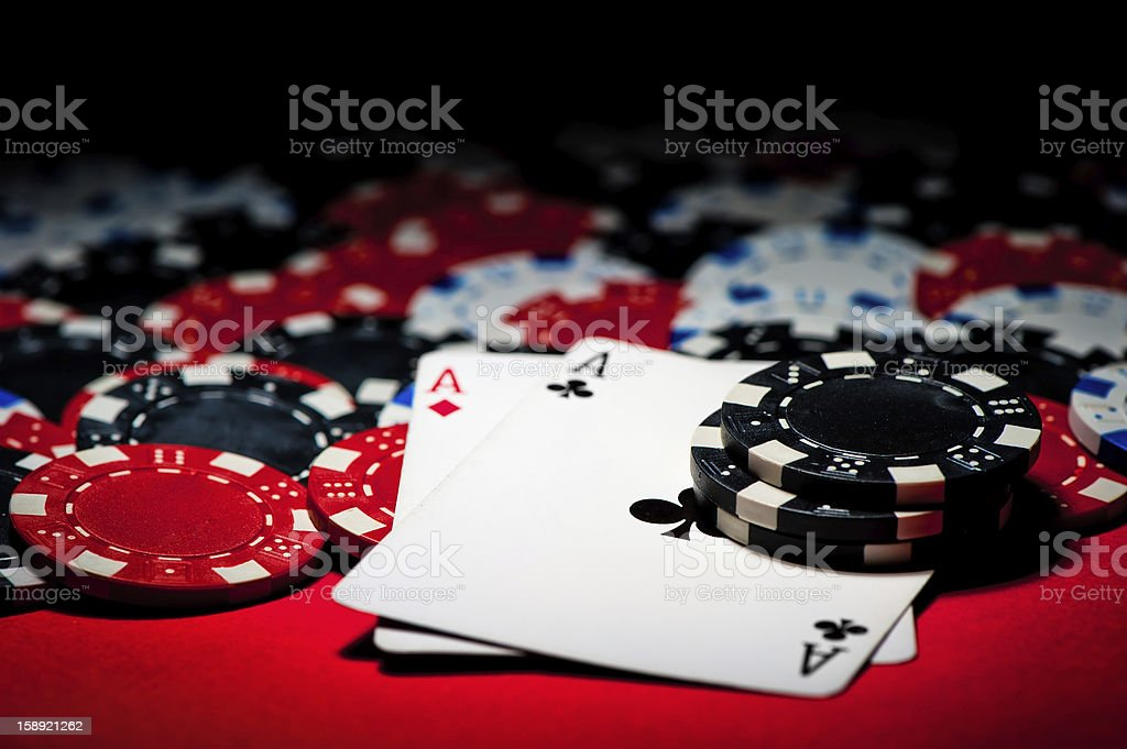 Pair of aces and chips stock photo
