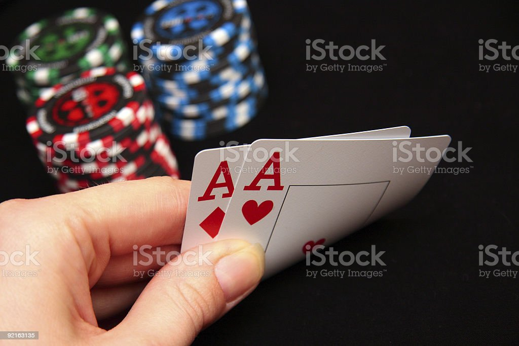 pair of Aces in hand royalty-free stock photo