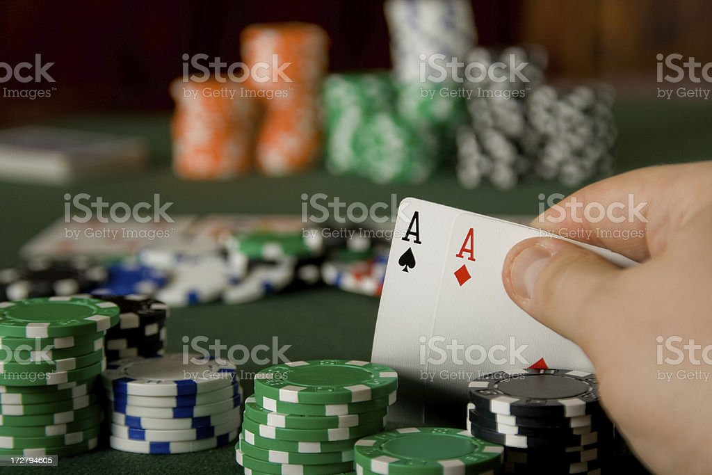 Pair of aces in Texas Hold'em poker game royalty-free stock photo