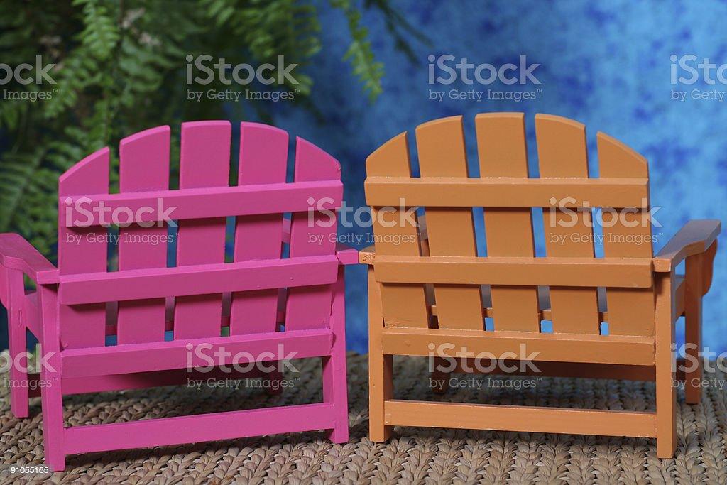 Pair of Adirondack chairs stock photo