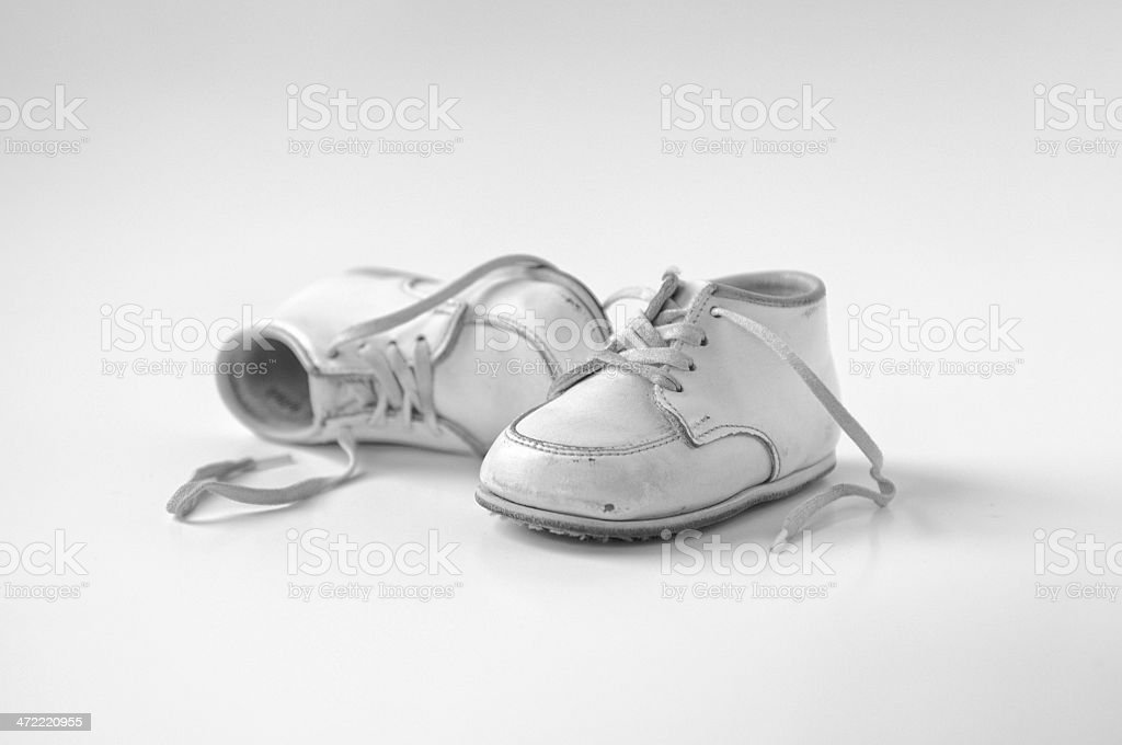 pair of baby shoes leather baby stock photo
