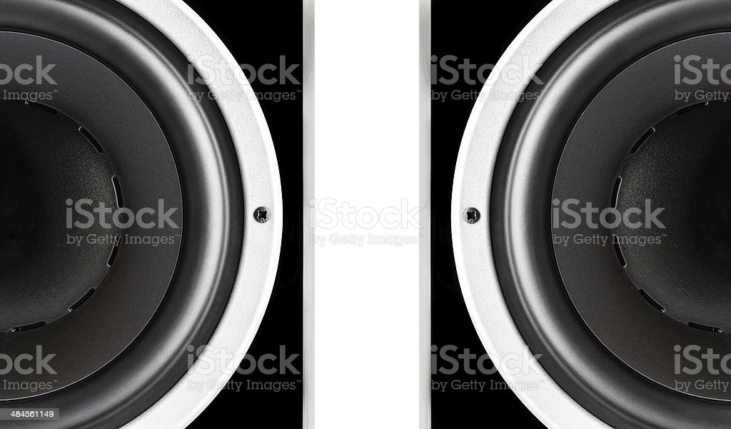 Pair of black audio speakers membrane stock photo