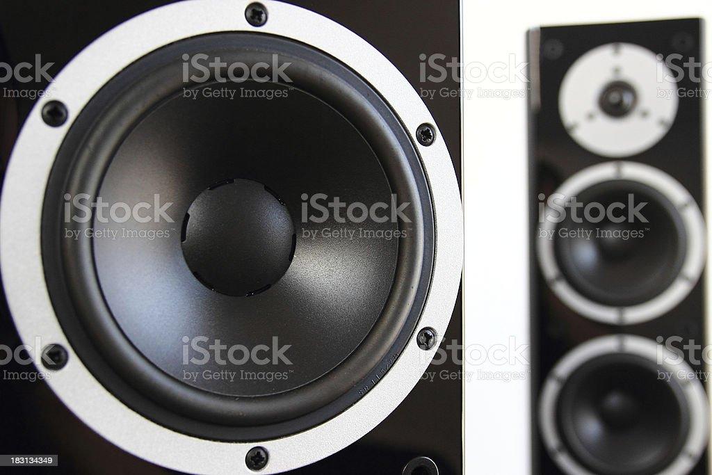 Pair of black audio speakers stock photo