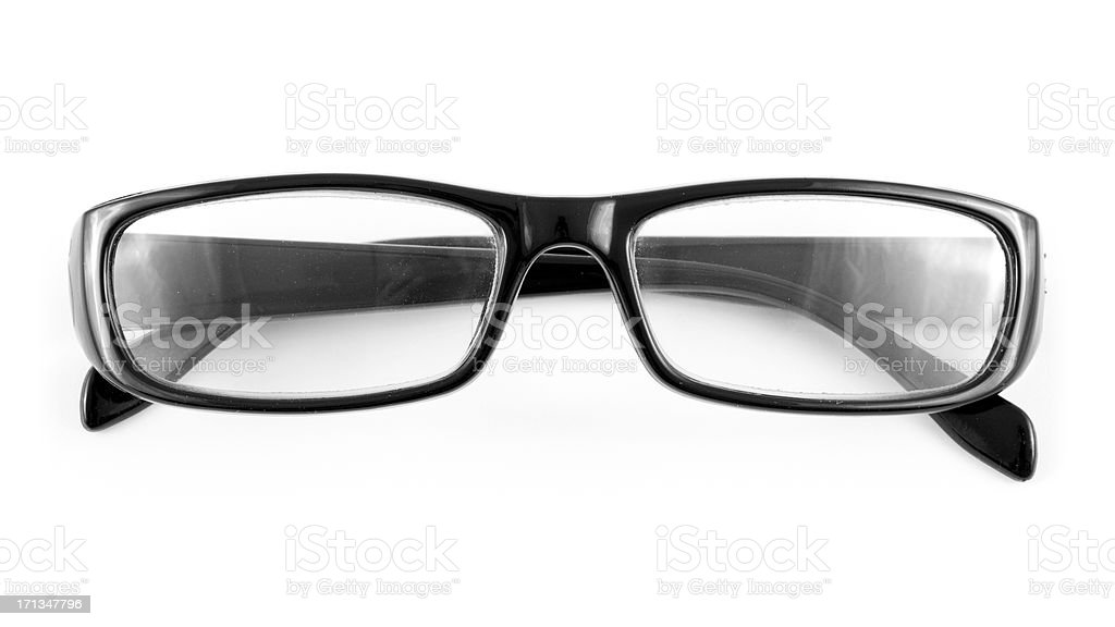 Pair of black glasses on a white background royalty-free stock photo