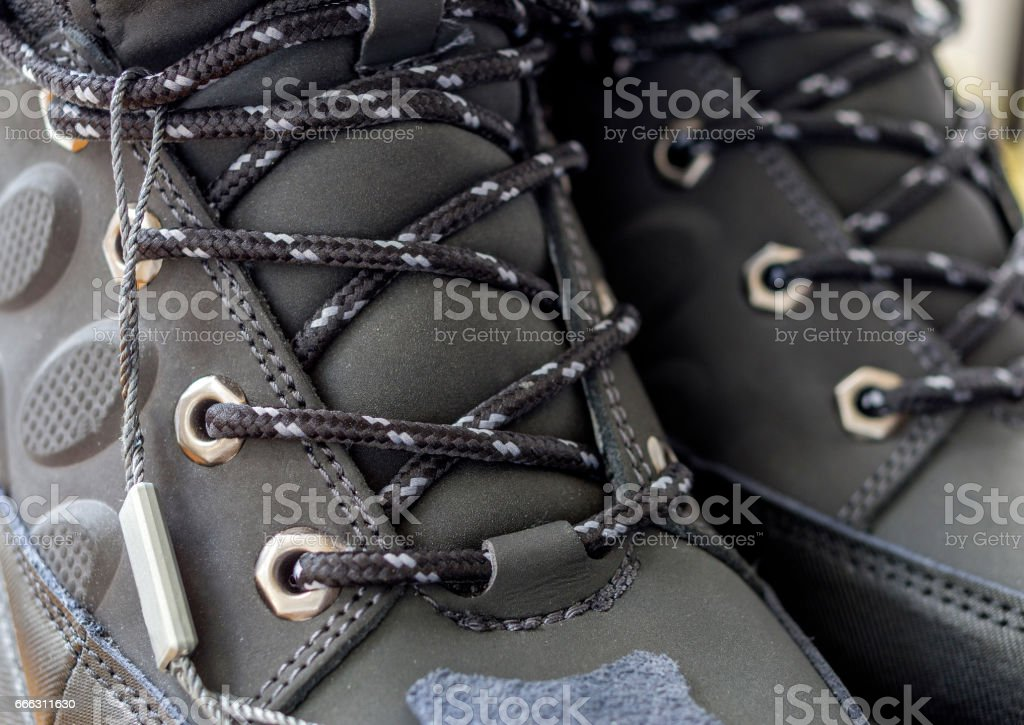 A pair of black hiking boots stock photo