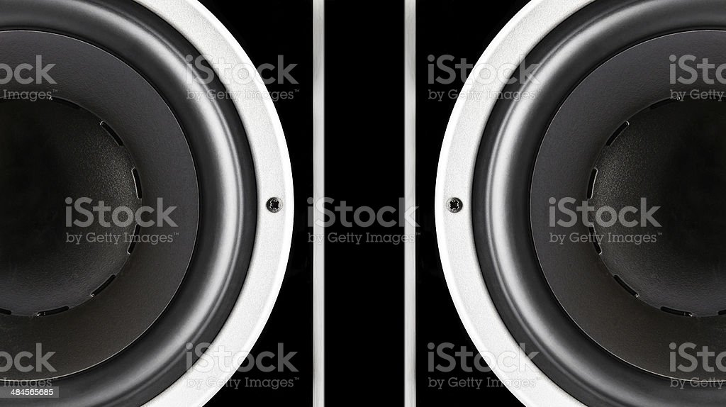 Pair of black sound speakers membrane royalty-free stock photo