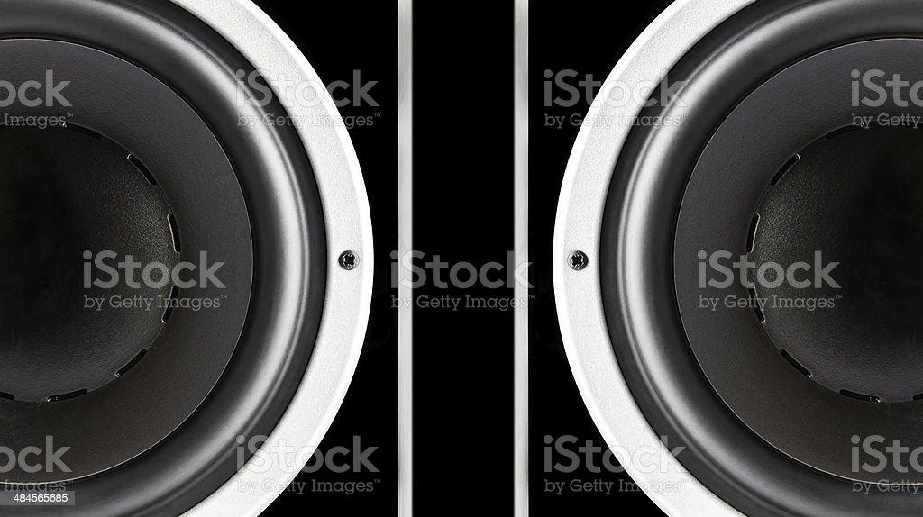 Pair of black sound speakers membrane stock photo