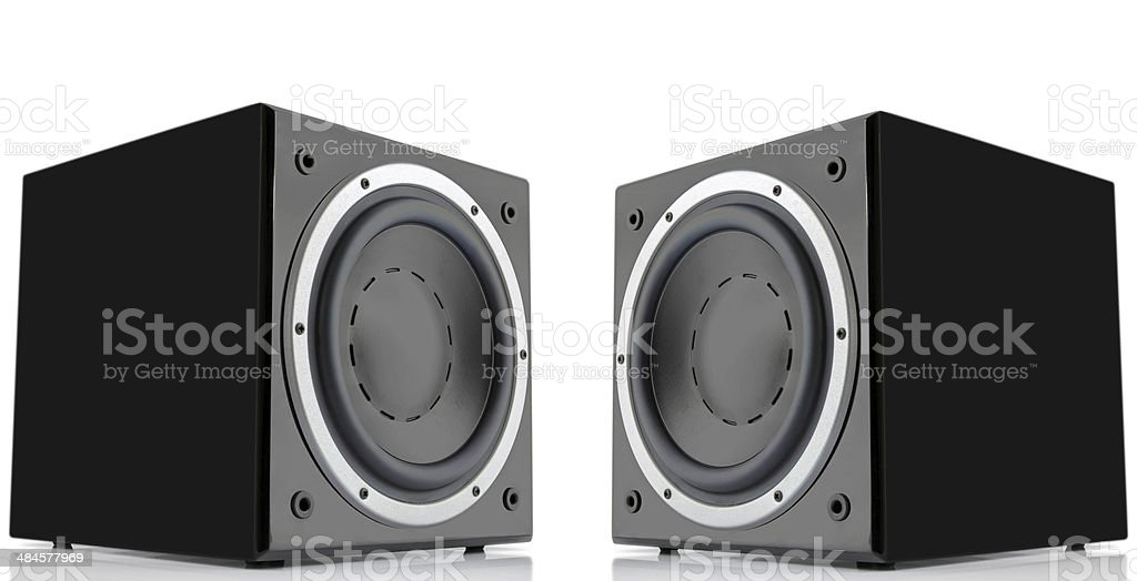Pair of black subwoofers stock photo