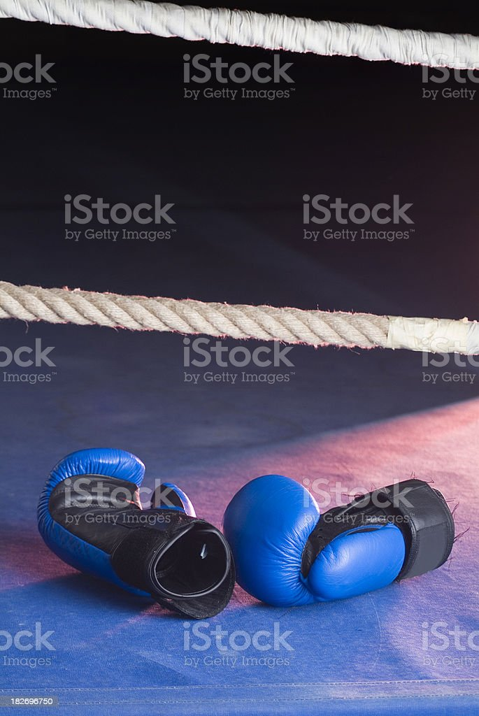 A pair of blue boxing gloves alone in a ring. royalty-free stock photo