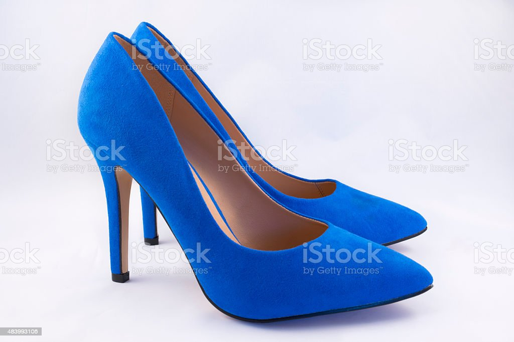 Pair of Blue High Heel Shoes stock photo