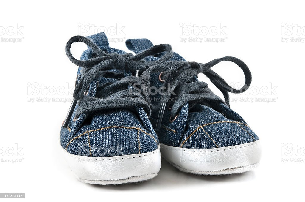 Pair of Blue Jean Baby Shoes stock photo