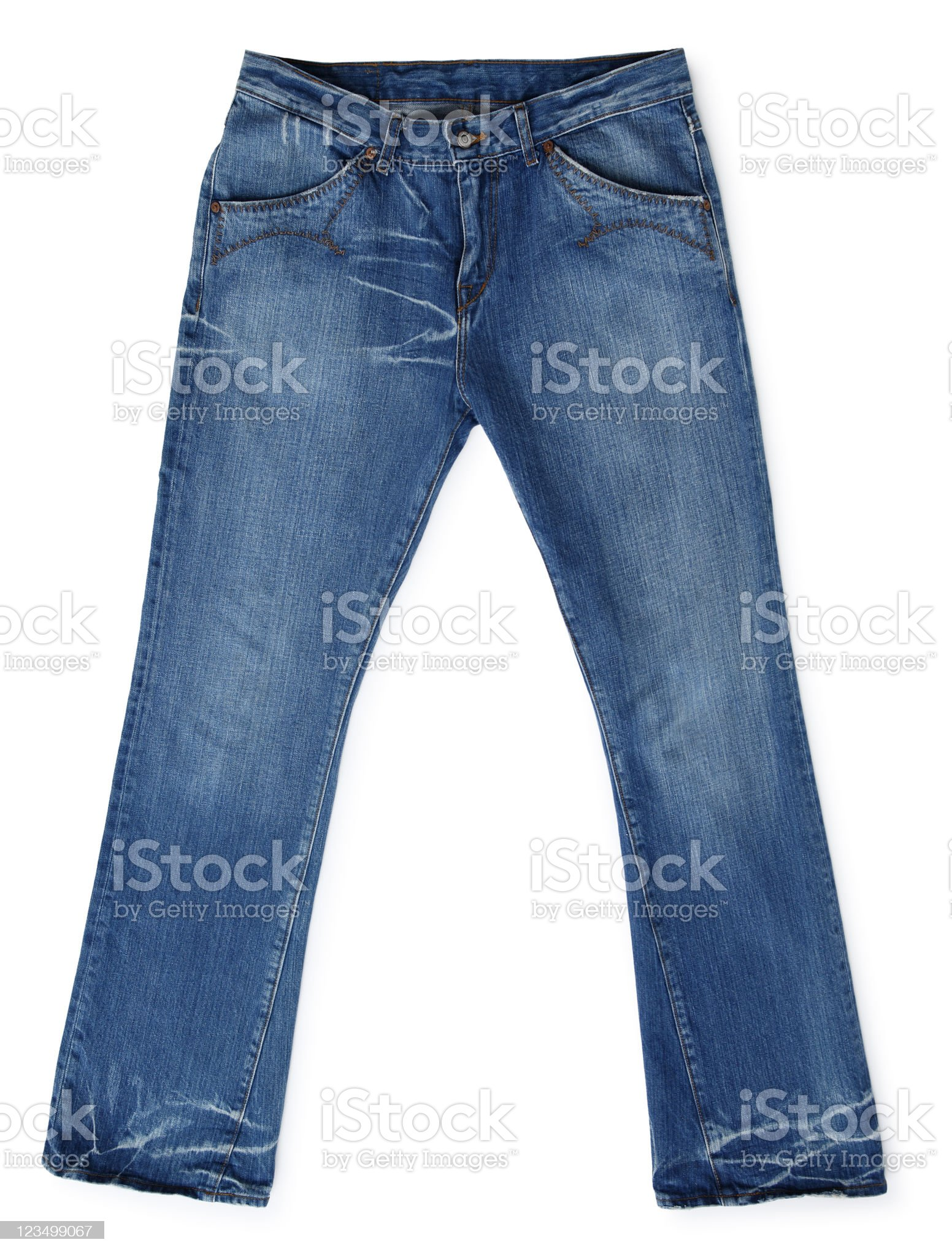 Pair of Blue Jeans Isolated on white royalty-free stock photo
