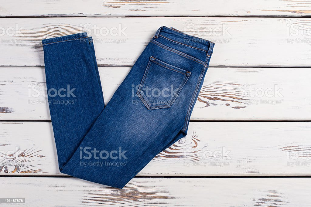 Pair of blue jeans. stock photo