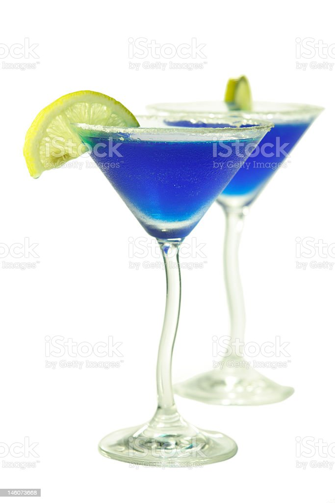 Pair of Blue Lady cocktails royalty-free stock photo