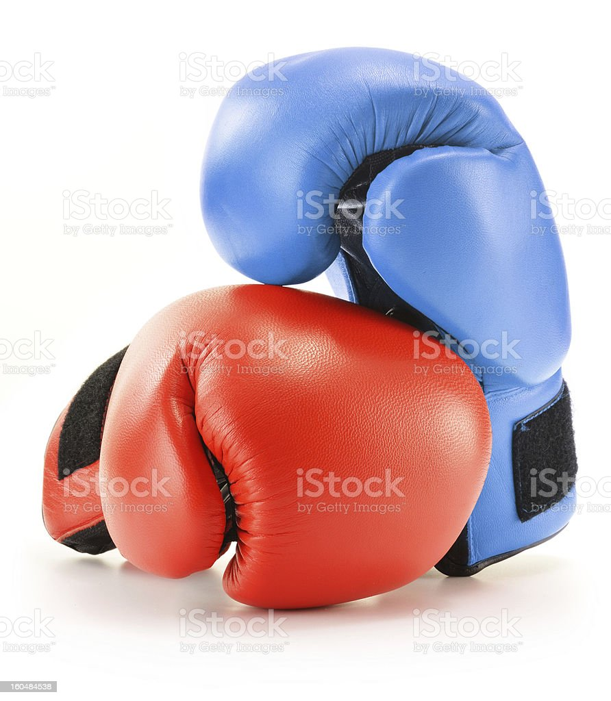 Pair of boxing gloves isolated on white royalty-free stock photo