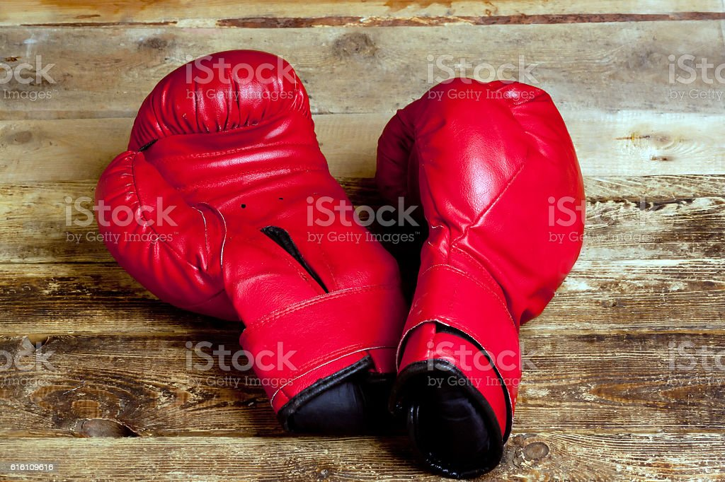 pair of boxing gloves stock photo