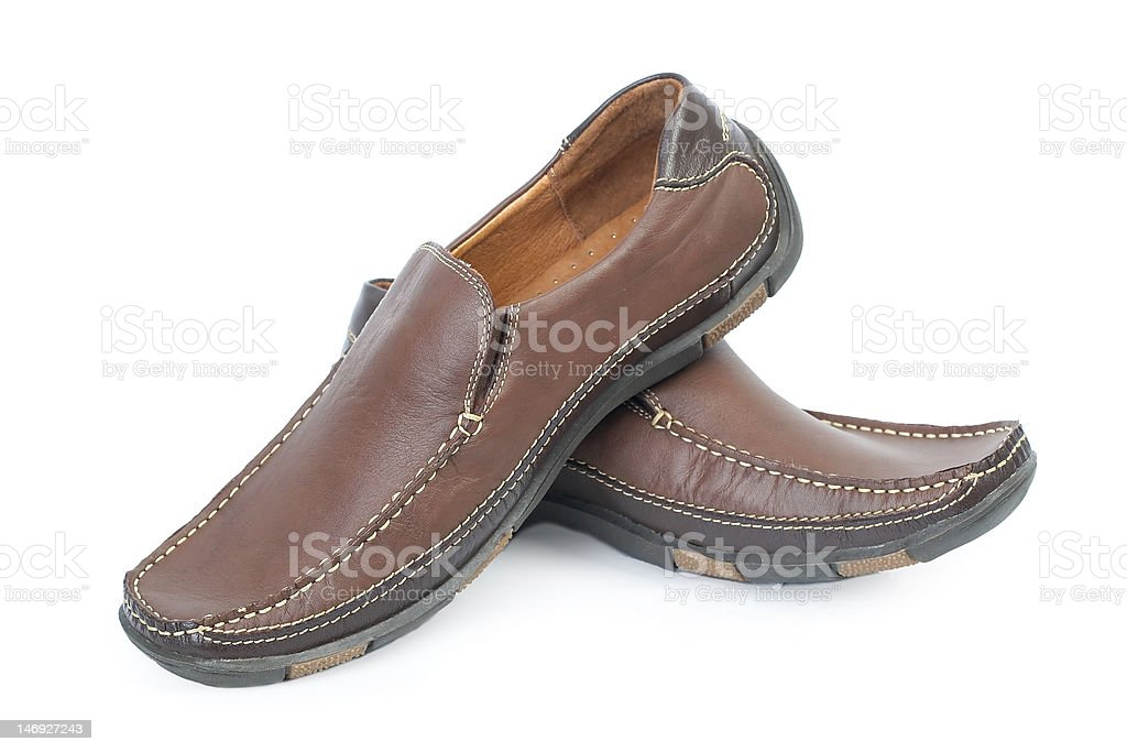 Pair of brown leather boot royalty-free stock photo