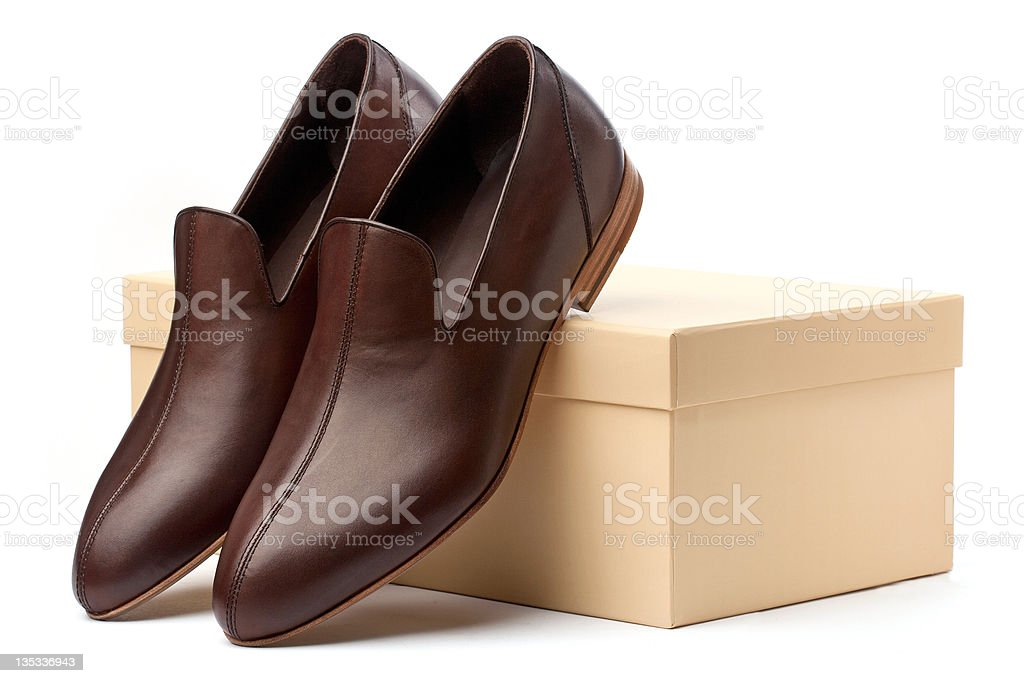 Pair of brown men shoes royalty-free stock photo
