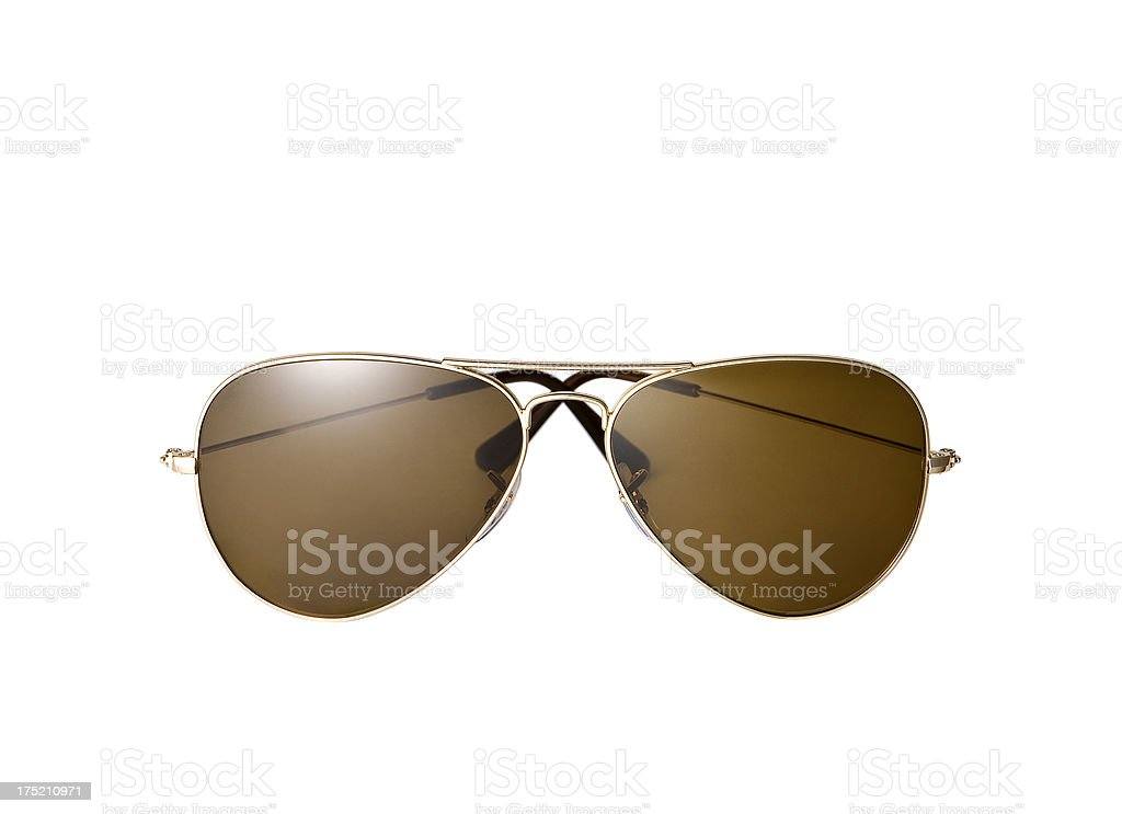 Pair of brown pilot style sunglasses stock photo