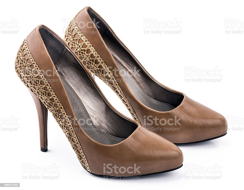 Pair of Brown woman shoes royalty-free stock photo