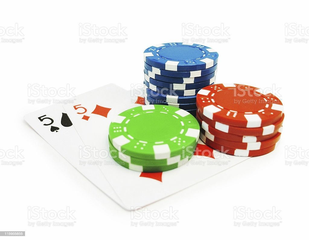 Pair of Cards and Poker Chips isolated - Clipping path royalty-free stock photo
