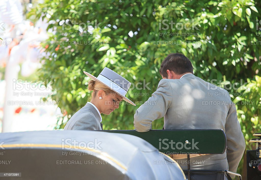pair of carriage conductors in the Seville April Fair stock photo
