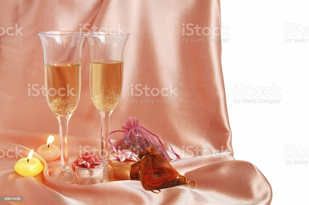 Pair of champagne flutes royalty-free stock photo