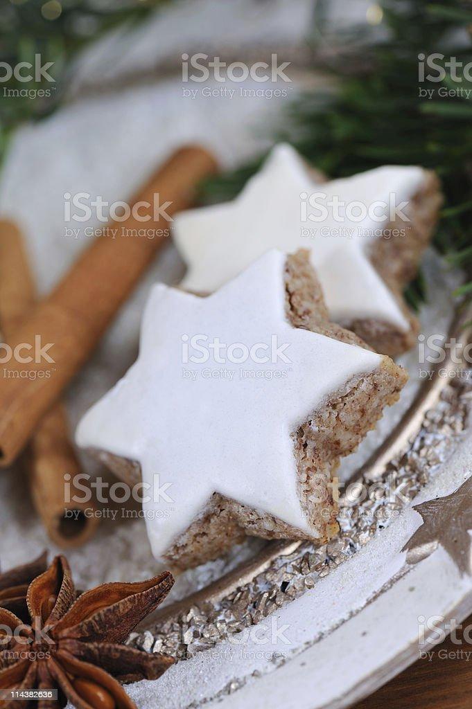 Pair of Cinnamon Stars Christmas Baking Close-Up stock photo
