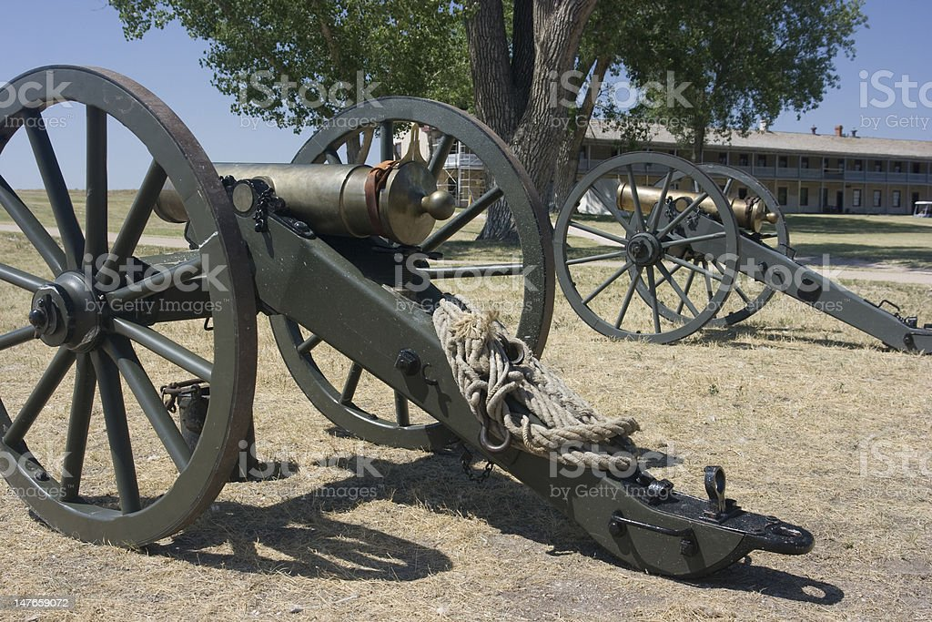 Pair of Civil War Cannons stock photo