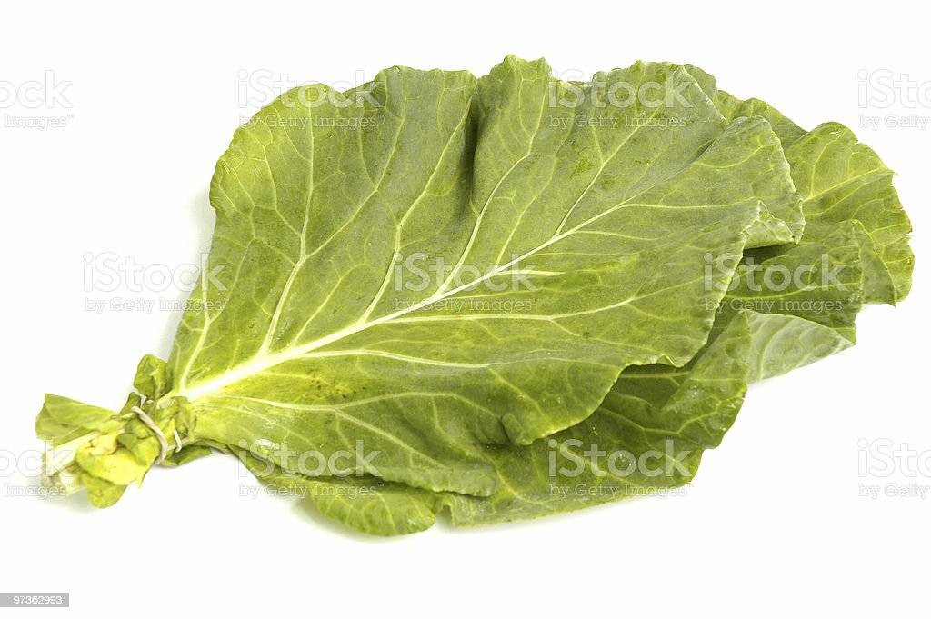 Pair of collard greens leaves on white background stock photo