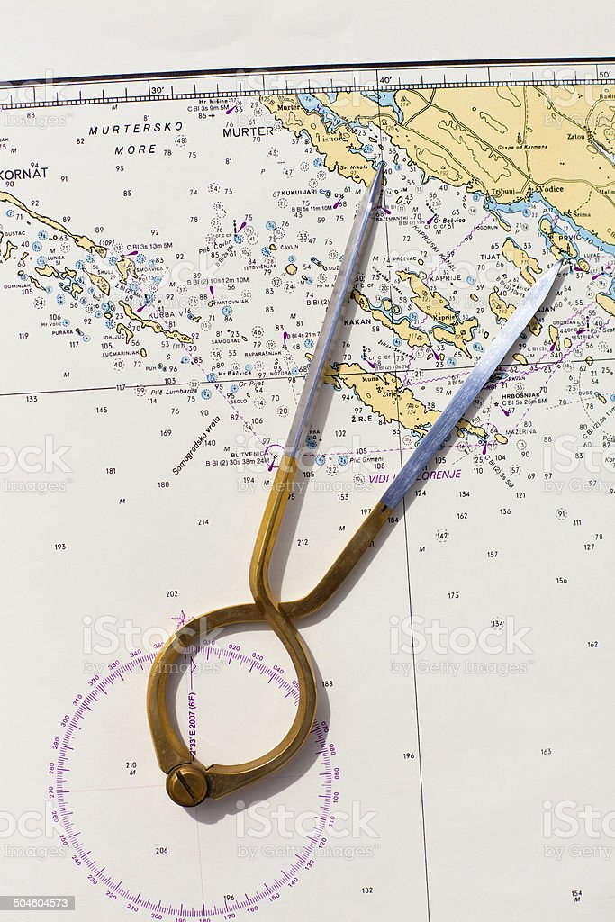 Pair of compasses for navigation on a sea map royalty-free stock photo