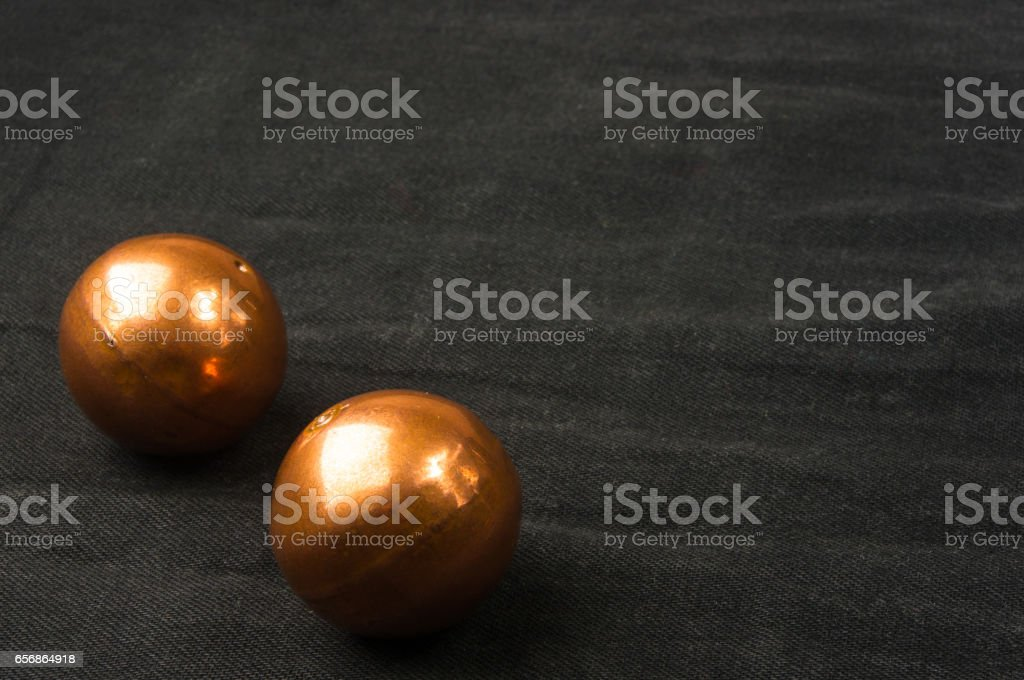 pair of copper Chinese balls Baoding stock photo