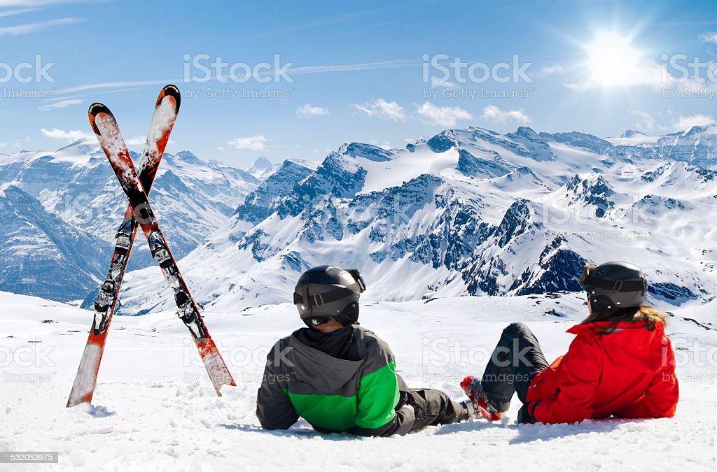 Pair of cross skis stock photo
