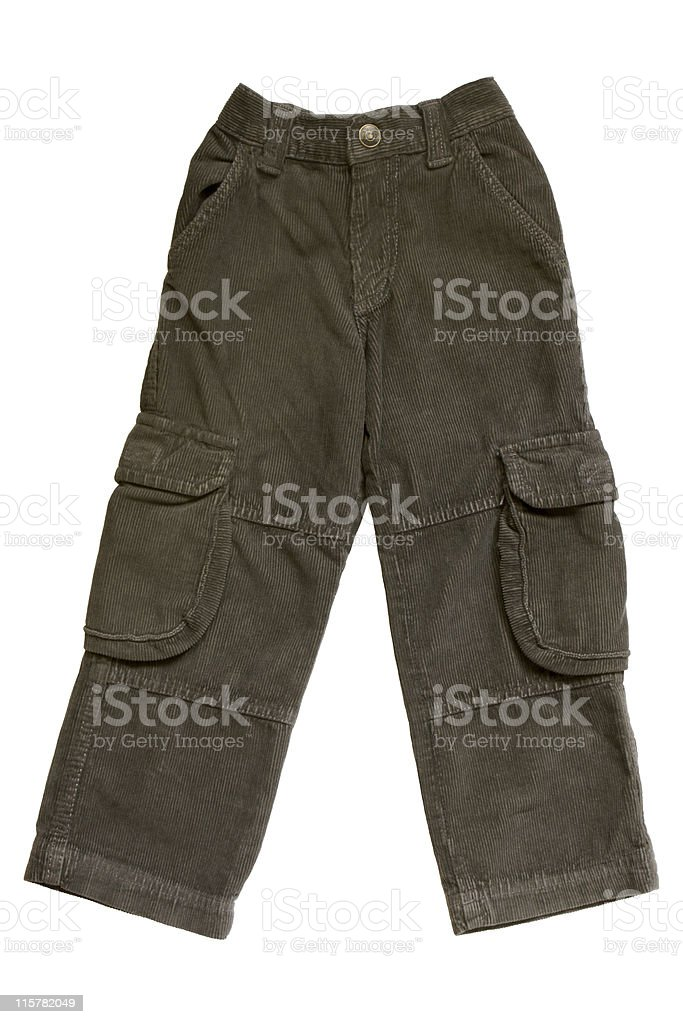 A pair of dark colored child's pants stock photo
