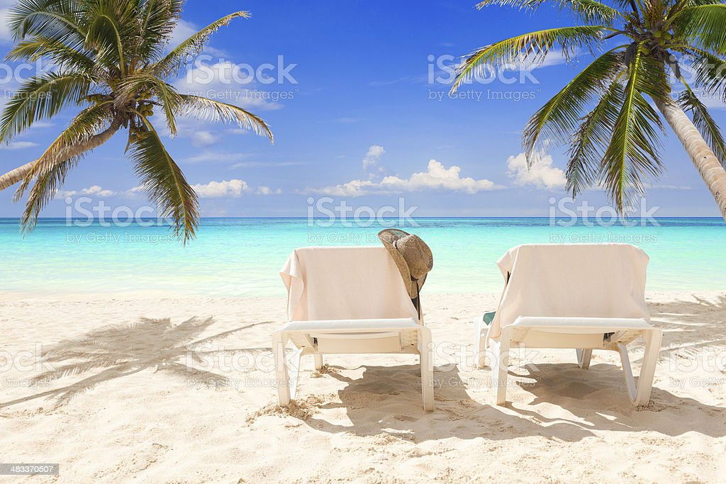 Pair of deck chairs between palms on a tropical beach stock photo