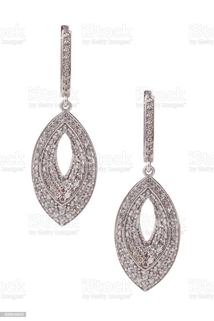 Pair of diamond earrings isolated on white with clipping path stock photo