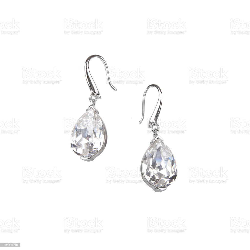 Pair of diamond earrings stock photo