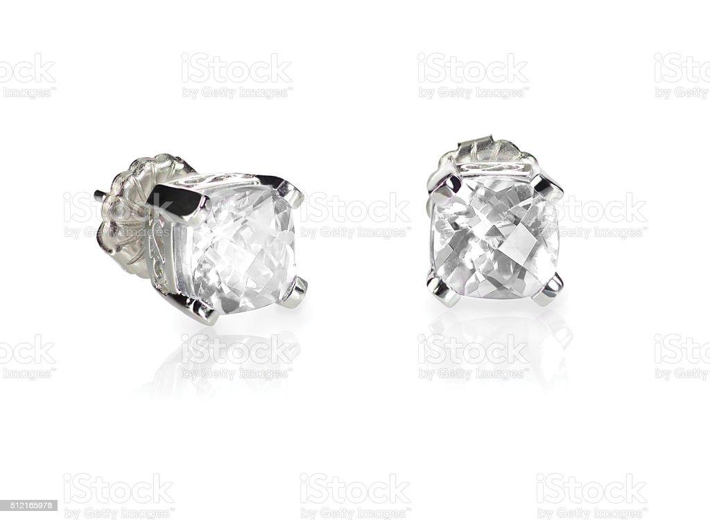 Pair of diamond stud cushion cut white quarts earrings stock photo