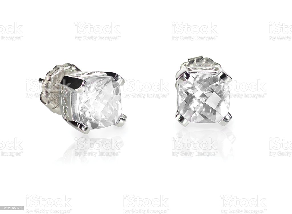 Pair of diamond stud cushion cut white quarts earrings stock photo