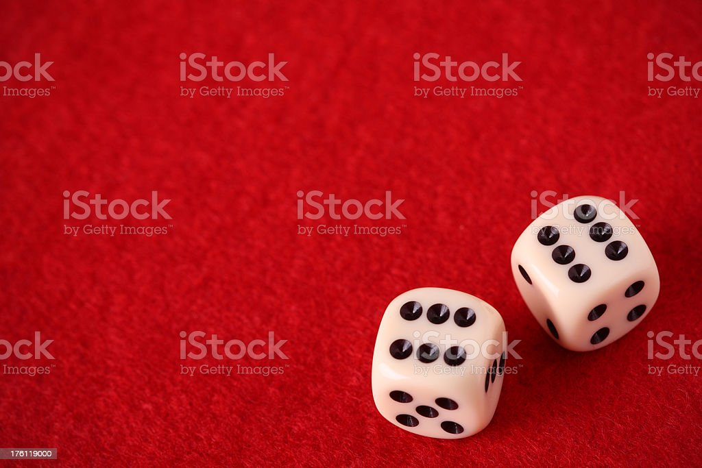 Pair of dice on gambling table royalty-free stock photo