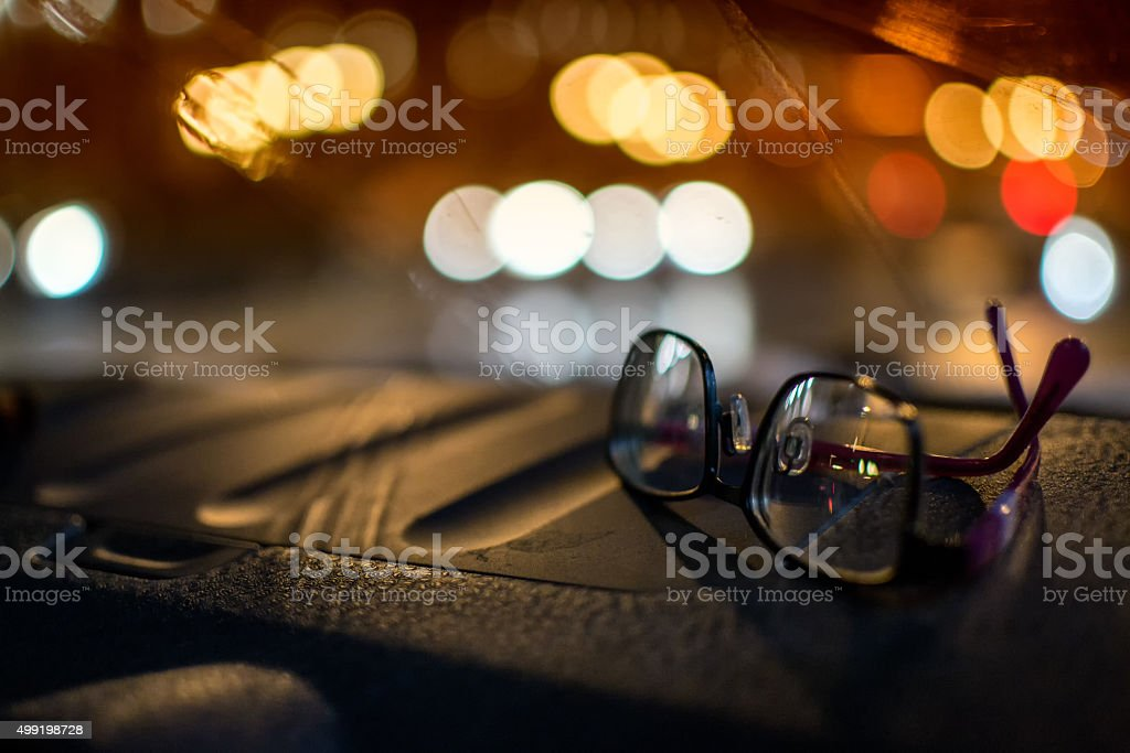 Pair of Driving Glasses at Night stock photo