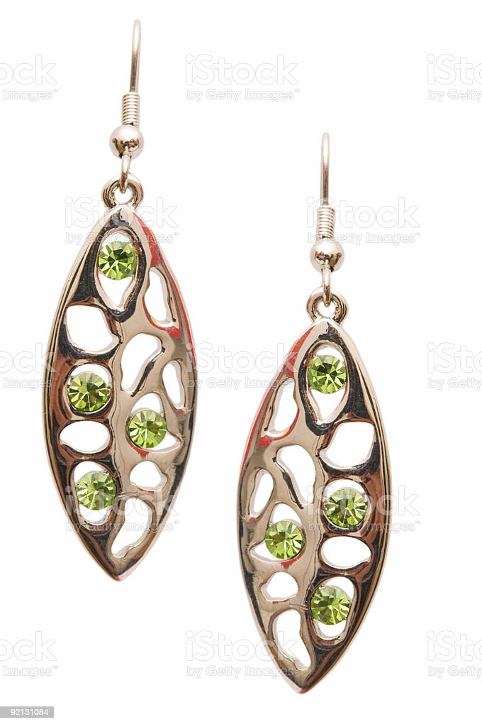 Pair of earrings isolated on the white background royalty-free stock photo